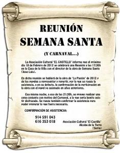 Cartel reunión de Semana Santa 2012