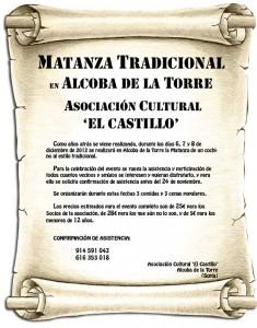 Cartel de la matanza 2012 en Alcoba de la Torre